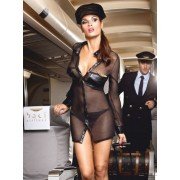 Baci Black stewardess uniform with long sleeves, hat and pin 1217 - Small/Medium