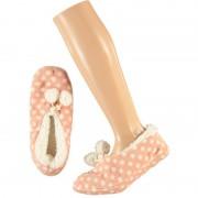 Apollo Roze ballerina huispantoffels/sloffen stipjes print voor dames maat 40-42