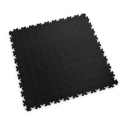 Černá vinylová plastová zátěžová dlaždice Industry 2040 (penízky), Fortelock - délka 51 cm, šířka 51 cm a výška 0,7 cm
