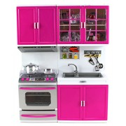 Doll Playsets My Modern Kitchen Stove Oven Sink Battery Operated Toy Doll Kitchen Playset W/ Lights, Sounds
