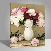 with wood frame, Flower-133: Wood Frame, Paint by Numbers DIY Oil Painting White And Pink Flowers Canvas Print Wall Art Home Decoration by Rihe