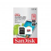 SanDisk Ultra 16GB Ultra Micro SDHC UHS-I/Clase 10 Tarjeta Con Adaptador (SDSQUNC-016G-GN6MA) [Nueva Versión]