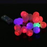 Karácsonyi Elemes LED pamutgolyó fényfüzér színes 1 m