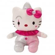 Jemini hello kitty knuffel clown pluche meisjes roze/zilver 27 cm