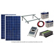 Kit Solar Fotovoltaico 2x265W c/ duas baterias gel para sistema 12/24V varias potências