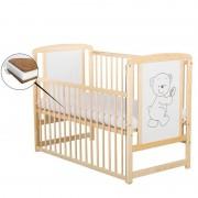 BabyNeeds Patut din lemn Timmi 120x60 cm cu laterala culisanta Natur cu Saltea 12 cm