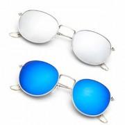 Debonair Polarized Oval Blue Mercury Unisex Sunglasses -(Pento-Round-SM-BM-Combo55)