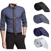 Set of 4 Slim Satin Tie for Men - Formal Party Wear Birthday Gifts.(Colour Black Grey Navy Blue Silver)