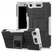 Capa Híbrida Antiderrapante para Sony Xperia XZ1 Compact - Branco / Preto
