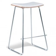 Set of 2 - Yvonne Potter Replica Y Porter Bar Stool 73m - Chrome Frame - Natural Veneer - White Cushion Seat