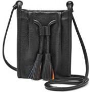 Fossil Women Black Genuine Leather Messenger Bag