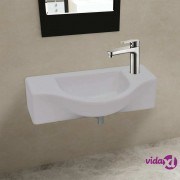 vidaXL Bijeli keramički umivaonik s otvorom za slavinu