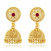 Vighnaharta Traditional 1gm Gold South Screw Back Alloy Gold and Micron Plated Jhumka Earring- VFJ01129ERG