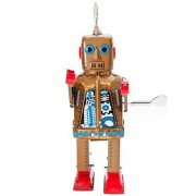 """Vintage Style Wind Up 7.75"""" Tin Robot by Off the Wall Toys"""