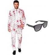 Bloedvlekken heren kostuum / pak - maat 56 (XXXL) met gratis zonnebril