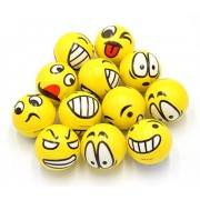 ANFIMU Set of 12 - Fun Emoji Face Stress Balls Emoji Hand Wrist Stress Reliefs Squeeze Balls for Kids and Adults at School or Office Holiday Gift Party Favors (Yellow Color Random Emotion Faces)