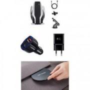 Set 4 buc Suport auto Smart sensor cu incarcator wireless S6A black silver incarcare rapida 10W