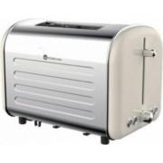 Prajitor de paine Studio Casa Retro 80 1000 W 2 Felii 7 nivele de rumenire Functie decongelare incazire oprire Crem Inox
