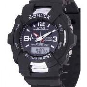 S Shock Round Dial Black Silicone Strap Quartz Watch for Men