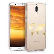 kwmobile Funda Compatible con Huawei Mate 10 Lite Carcasa de TPU Mapa del Mundo en Dorado/Transparente
