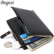 s4d Bogesi black Men's Wallet Purse Bifold Casual Mens Solid Leather Wallets Multi Pocket
