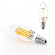 [lux.pro]® Bombilla LED E14 de filamento blanco cálido 2700K luz 500lm 5W vela