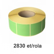 Role de etichete semilucioase verzi, 50x50mm, 2830 et./rola