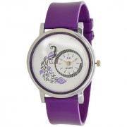 Zoom Glory Purple style Peacock Dial Fancy Collection PU Analog Watch - For Women