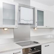 Klarstein Karree szagelszívó 60 cm 640 m³/h LED nemesacél, üveg, fehér (TK15-Karree-WH)