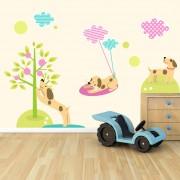Stickere perete copii Catelusi la plimbare - 140 x 112 cm