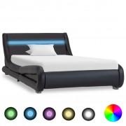 vidaXL Estrutura de cama com LED 100x200 cm couro artificial preto