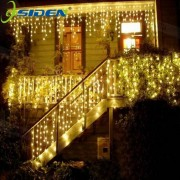 OSIDEN 4M Curtain Icicle Led String Lights Christmas Outdoor Decoration Indoor Droop 0.3-0.5m New Year Garden Party 110 220V