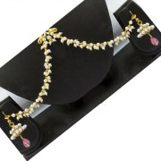 Rabbi Pearl Jhumka jhumki earrings with pearl ruby hanging earchain