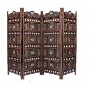 Shilpi Handicrafts Wooden Partition for Living Room Wooden Room Divider Screen Panel