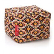 Style Homez Square Cotton Canvas Geometric Printed Bean Bag Ottoman Stool Large with Beans Multi Color