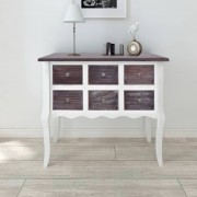 vidaXL Console Cabinet 6 Drawers Grey and White Wood