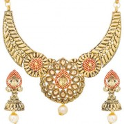 Aadita Traditional Gold Plated American Diamond Choker Necklace Wedding Bridal Jewellery Sets for Women and Girls