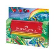 Creioane colorate + seta cadou desen si pictura, 16 culori/set, Colour Grip Jungle FABER CASTELL