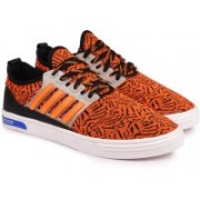 Andrew Scott Men's Orange Stretch Fabric Sneakers For Men(Orange)