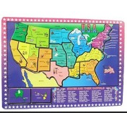 USA Map Wooden Puzzle - 16 piece Educational Jigsaw Puzzle Wooden Map United States of America States with Capitals and Key Industry - Colorful Wooden Jigsaw USA Map