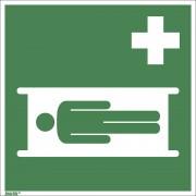 Rettungszeichen Krankentrage, VE 10 Stk Kunststoff, 200 x 200 mm