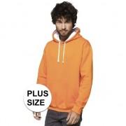 Gildan Grote maten oranje/witte sweater/trui hoodie voor heren