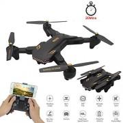LINGYUN Mini dron con Temporizador Plegable, WiFi FPV Gran Angular Transmisión de Imagen aérea Flujo de luz con Altura Fija Control Remoto Aviones de Cuatro Ejes, 20 Minutos de Tiempo de Vuelo