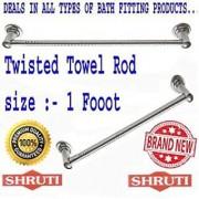 SHRUTI (Nikku) Twisted Stainless Steel Bathroom Towel Rod / Towel Stand / Towel Holder / Towel Rack for routine use of Bathroom Accessories - 1 Foot Long (1609)