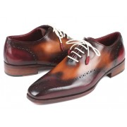 Paul Parkman Wingtip Oxford Shoes Bordeaux & Camel 097BY30