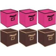 Billion Designer Non Woven 6 Pieces Small Foldable Storage Organiser Cubes/Boxes (Coffee & Pink) - CTKTC35202 CTLTC035202(Brown & Pink)