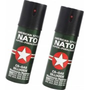 Set 2 bucati Nato 110 ml spray paralizant iritant lacrimogen autoaparare cu piper in cutie