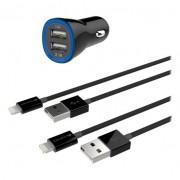 Kanex 2X USB Car Charger - зарядно за кола с 2 USB изхода и 2 Lightning кабела за Apple устройства с Lightning конектор
