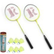 Roxon Nexta Badminton Racquet set OF 2 Piece with 6 Piece Sunley Plastic Shuttle