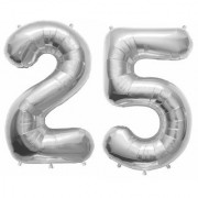 De-Ultimate Solid Silver Color 2 Digit Number (25) 3d Foil Balloon for Birthday Celebration Anniversary Parties